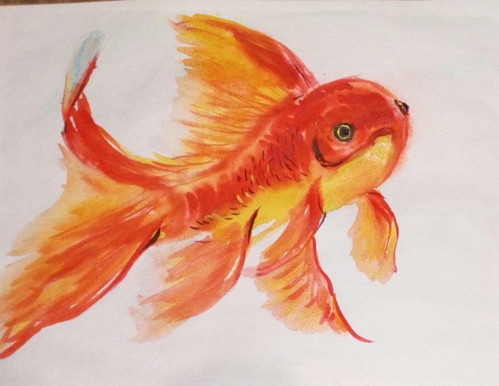 Картинки золотой рыбки рисовать