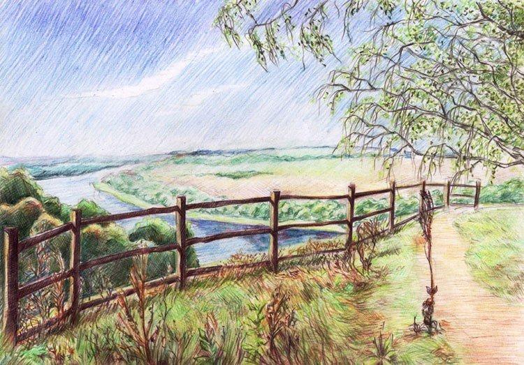 рисунки лето природа карандашом глянцевых комодов