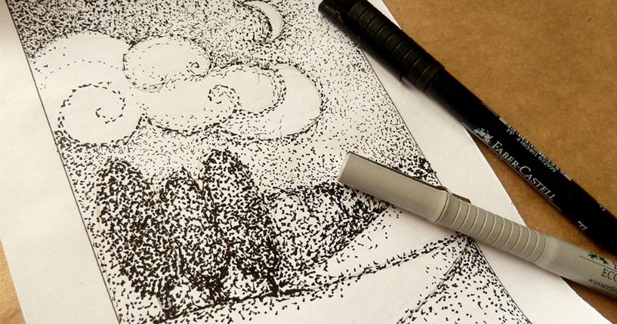 рисунок точками карандашом