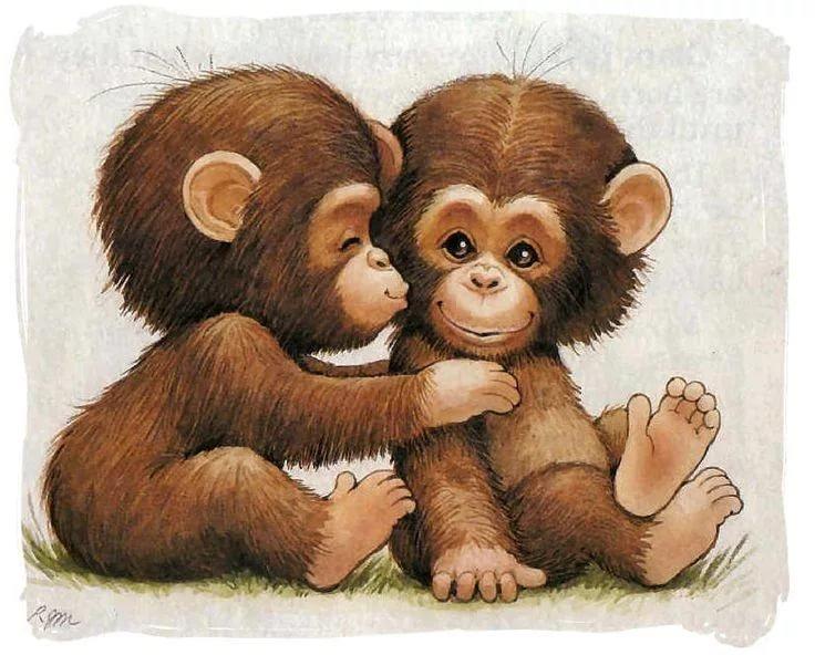 Открытки про обезьянок, картинки