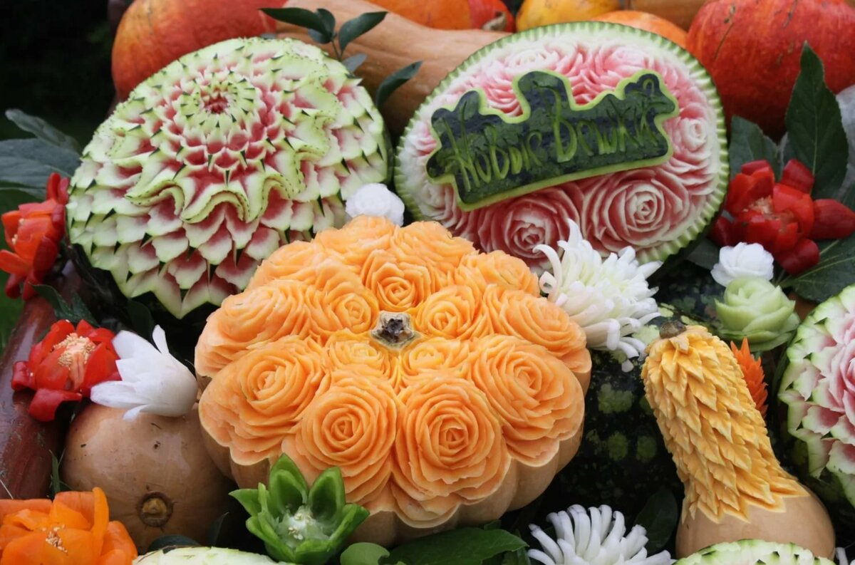 картинки карвинга из овощей и фруктов весна