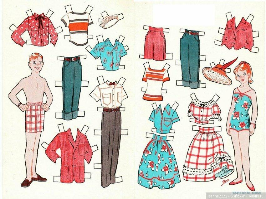 картинки бумажных кукол с одеждой для вырезания семья фото названиями
