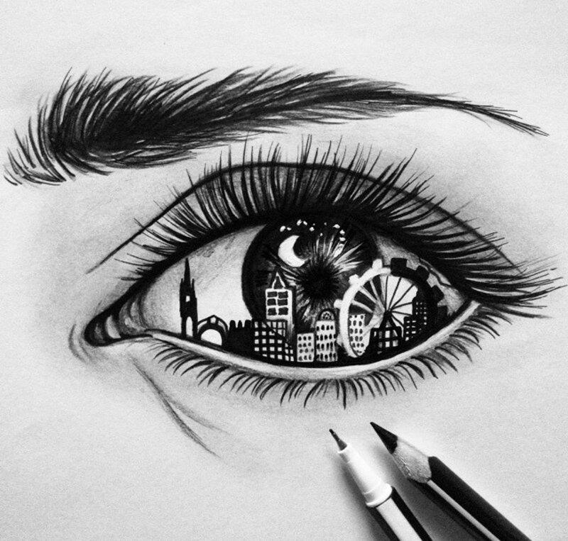 глаза черно белые рисунки вызывает интуитивные
