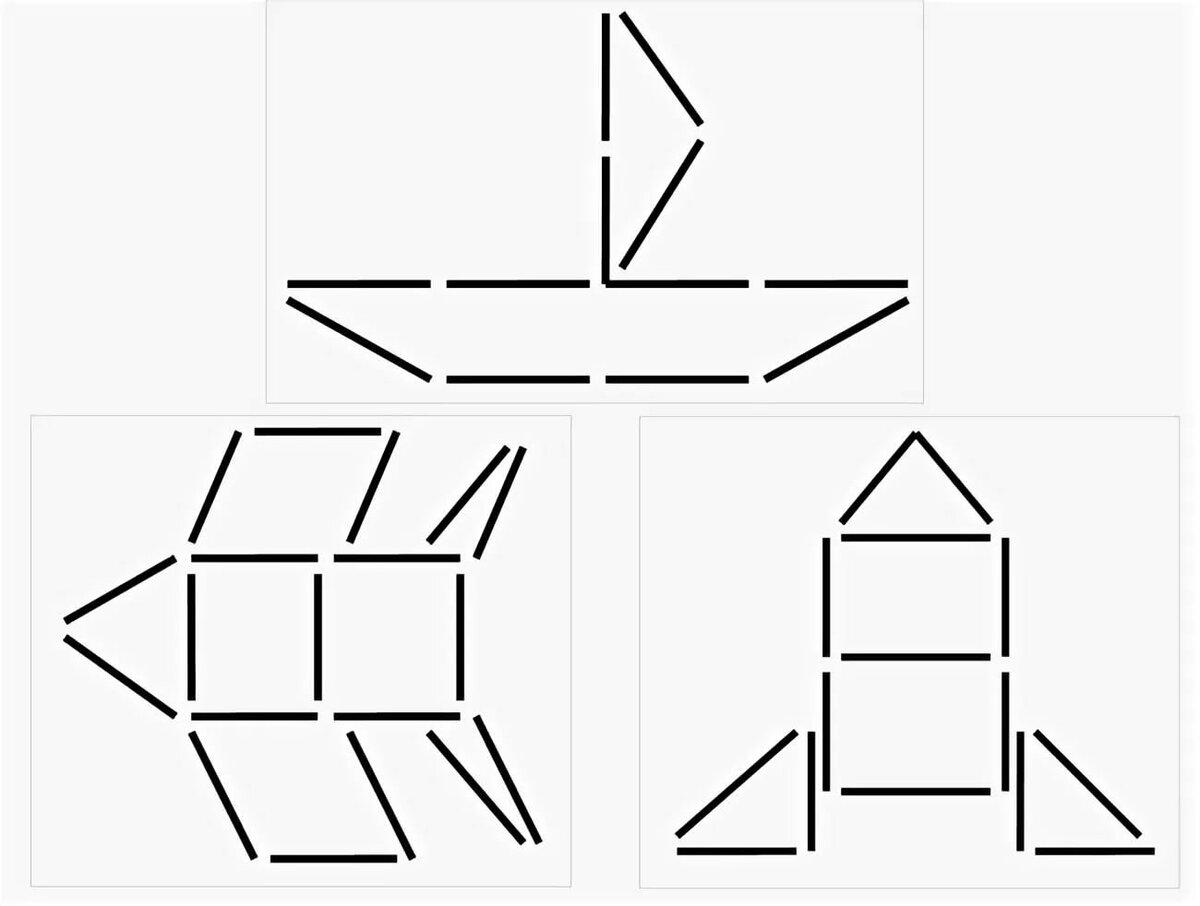 Картинки геометрических фигур из палочек