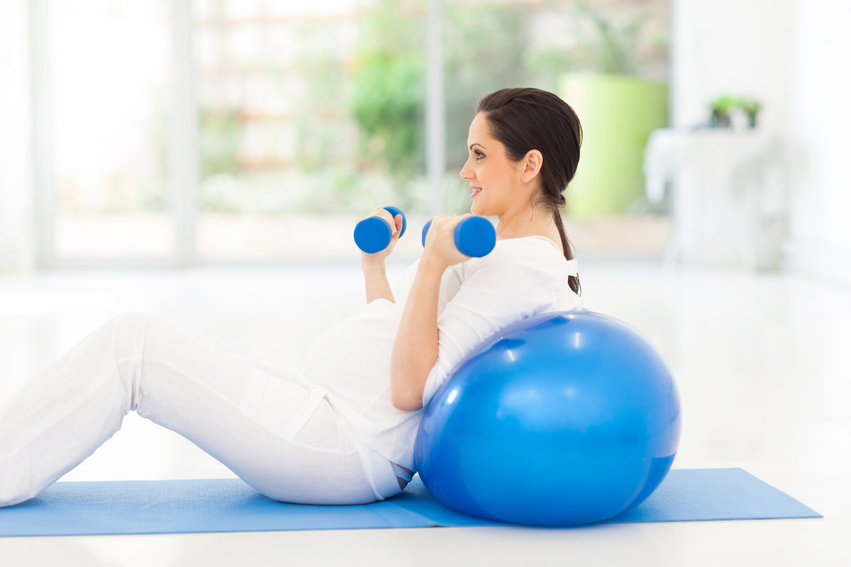 aerobic exercises during pregnancy During the third trimester, aerobic exercise may need to be limited to stationary equipment, walking, and swimming due to alterations in the center of gravity and balance limiting resistance training to selectorized machine use is recommended once center of gravity and balance has been altered.