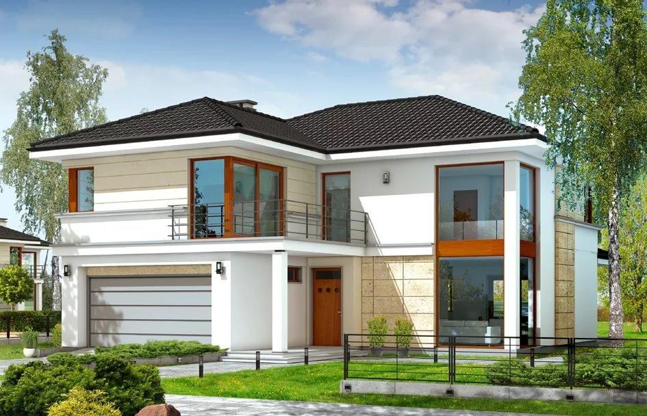 Проект загородного дома с оригинальным фасадом jk.