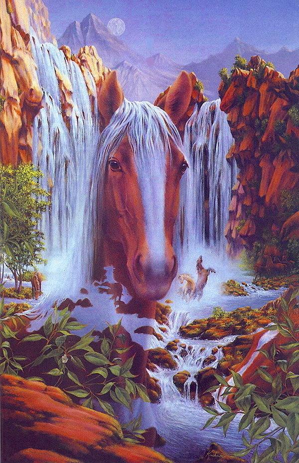 Лошади водопад картинка