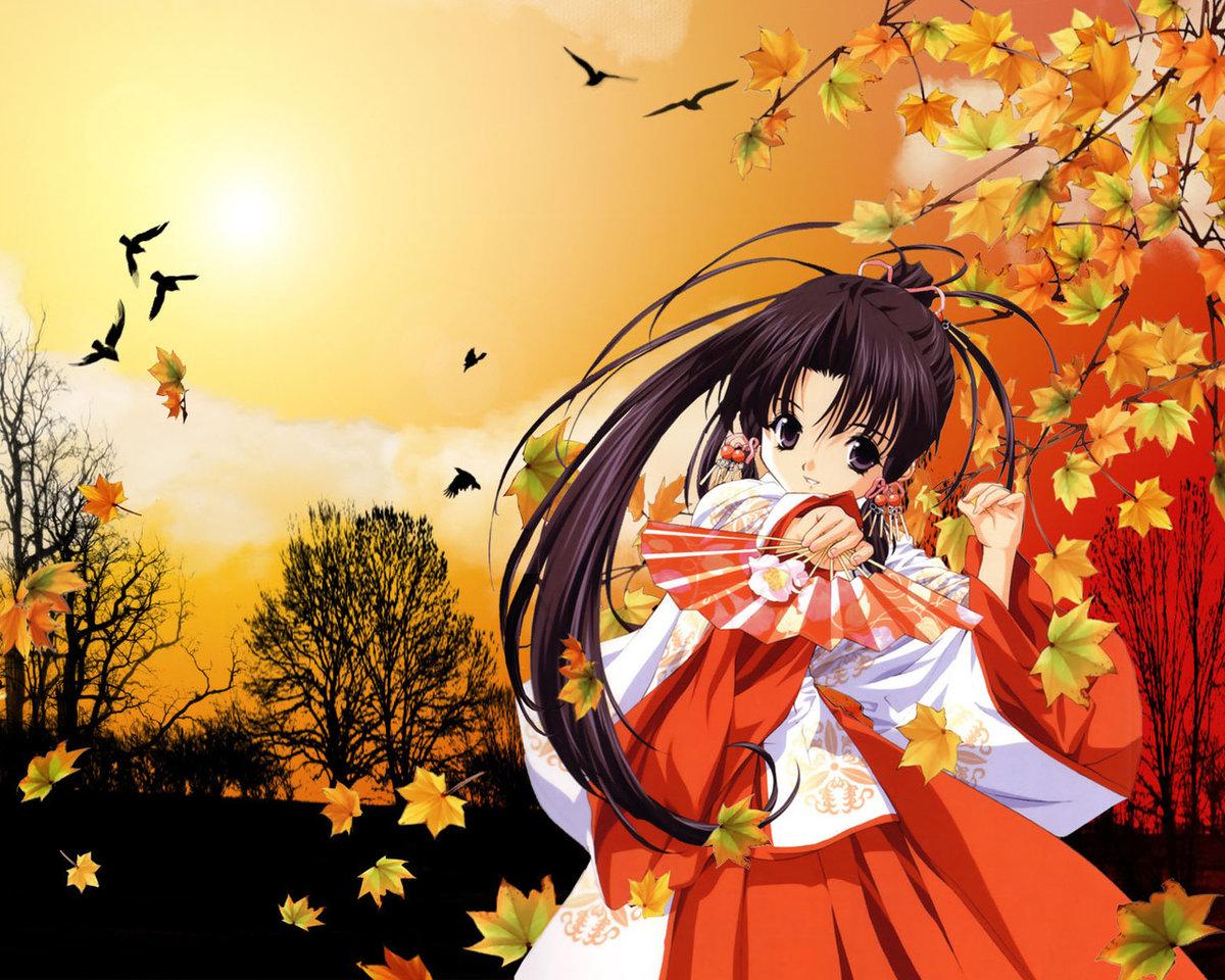 Картинки, аниме картинки осень девушка