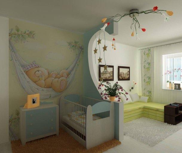 Совмещая детскую комнату со своей спальней, отделывайте помещение стекловолокном, флизелиновыми обоями или бумажными аналогами. Их рекомендуют использовать из-за экологической безопасности, ведь на изготовление таких покрытий для стен идет только натуральное сырье.