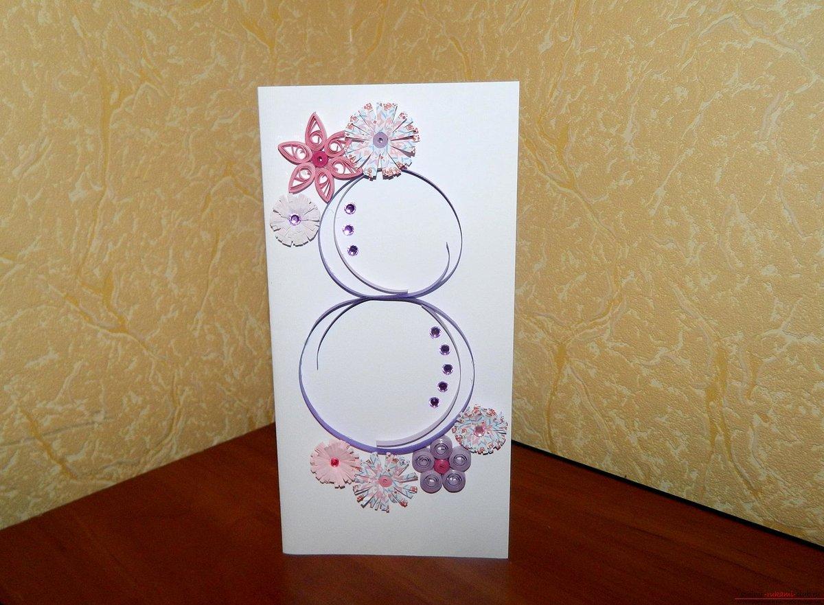 Как сделать открытку из альбомного листа на 8 марта, поздравлением цветы