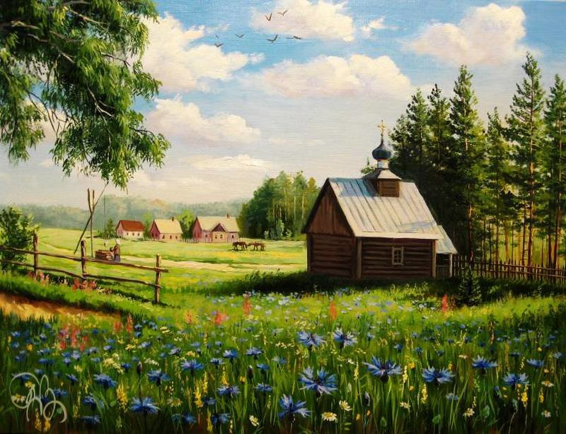 Названия, картинка деревня летом