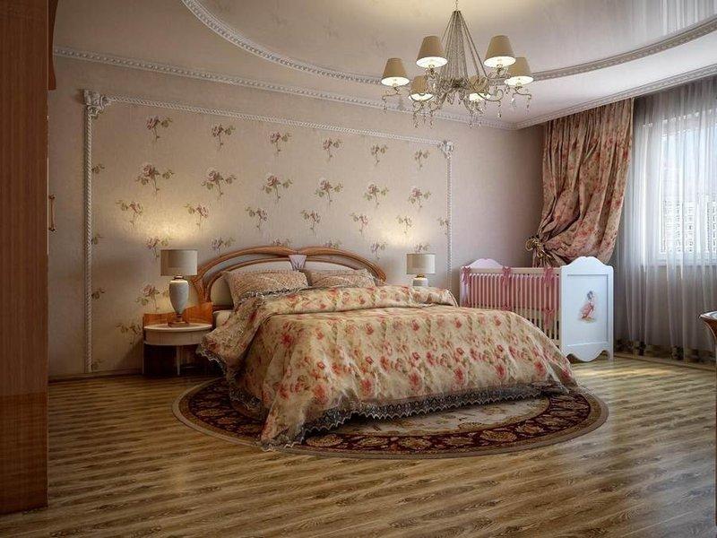 Спальня с детской кроваткой может быть не только функциональной, но и выглядеть просто превосходно, самое главное грамотно подобрать мебель и обустроить комнату.
