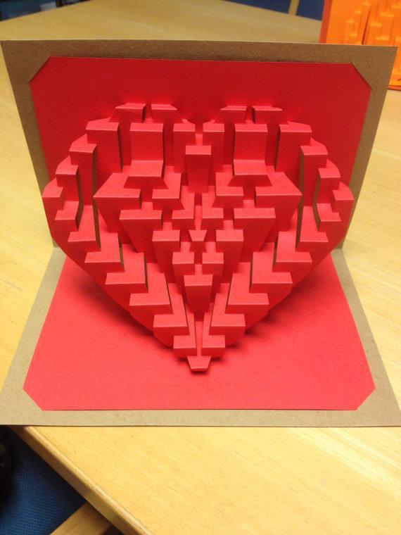 Открытки объемные из бумаги сердце, открытка днем рождения