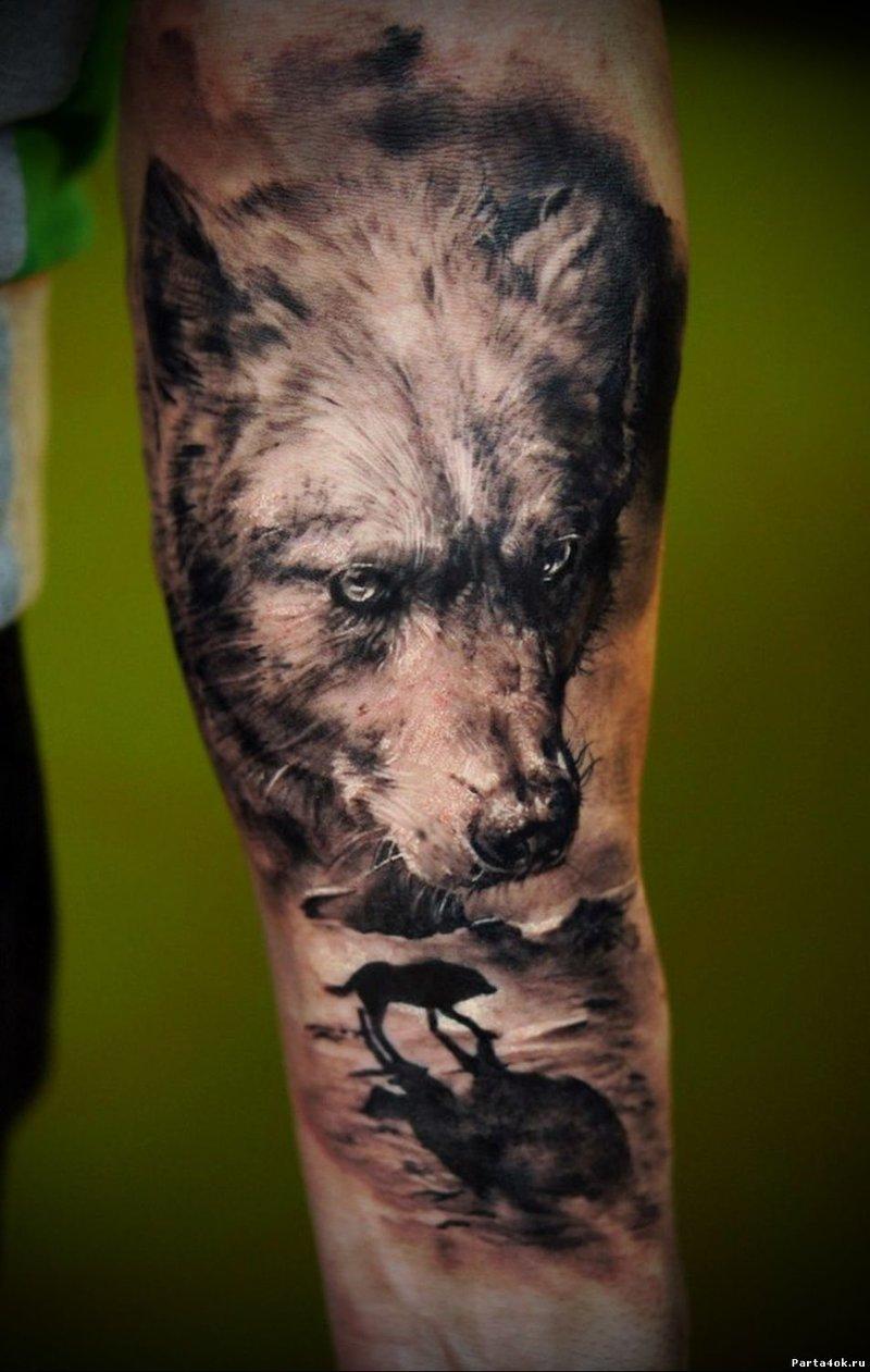 Эскизы волчьих тату 47
