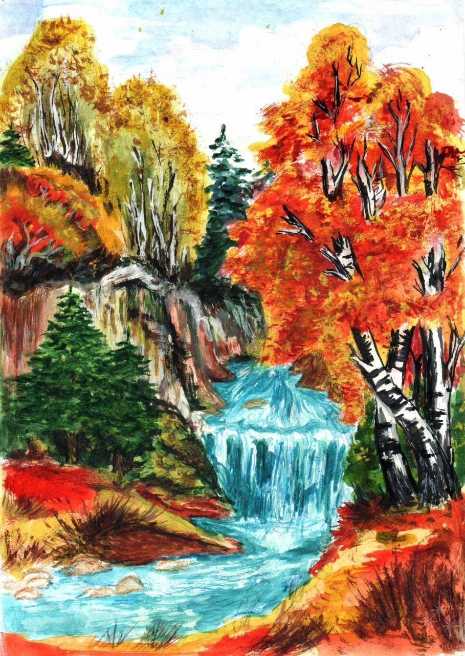 Осенние картинки нарисовать пошагово