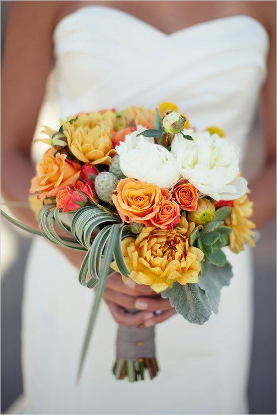 Недорого екатеринбург, желто оранжевый букет невесты