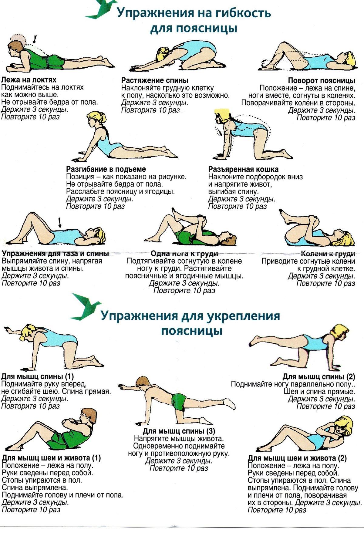 упражнения для укрепление мышц в пояснице выскочили один
