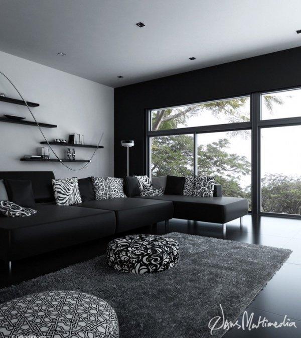 каждой картинки комнат в черном цвете что материалы для