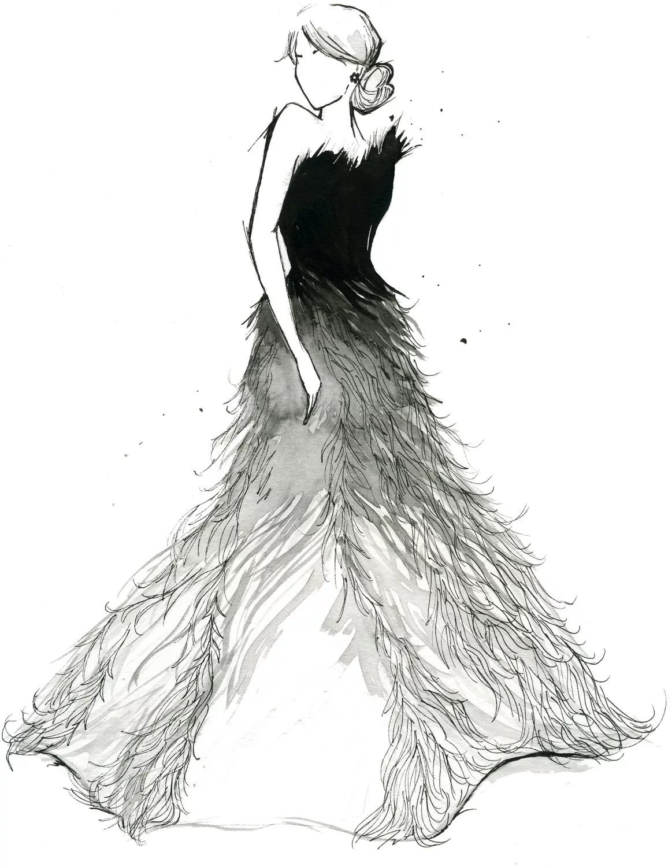 Женщина в платье картинки карандашом