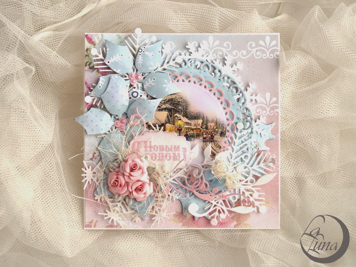 Споки, новогодняя открытка шебби скрапбукинг