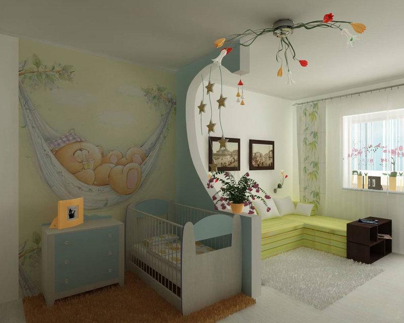 Дизайн детской с росписью стен.