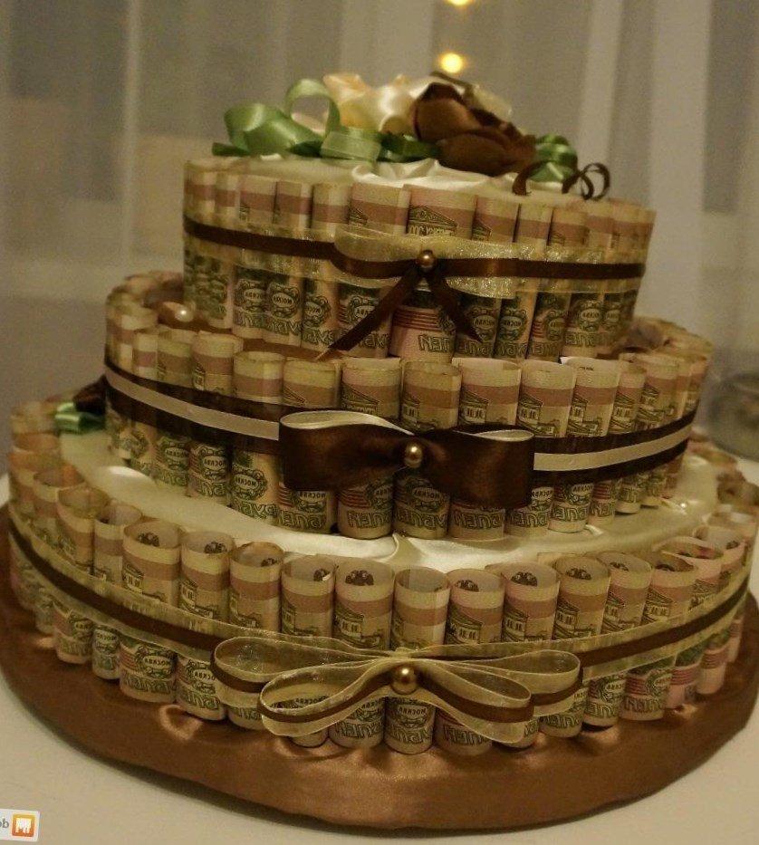 Поздравления с подарком денежный торт