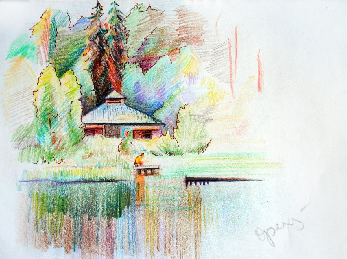 природа картинки красивые карандашом цветные