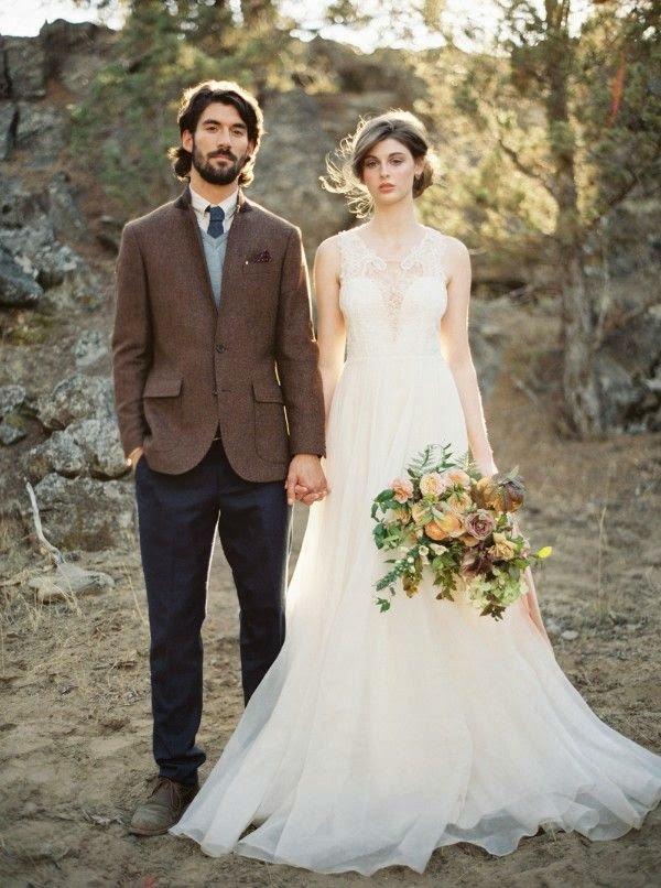Жених и невеста в стиле рустик