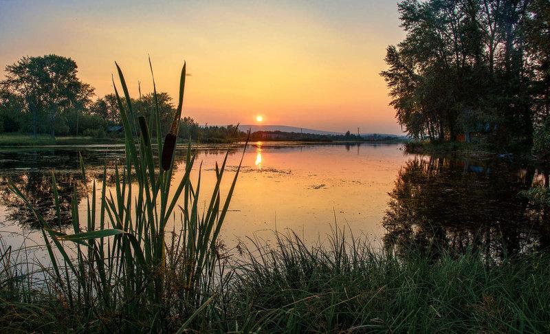 летний вечер на озере