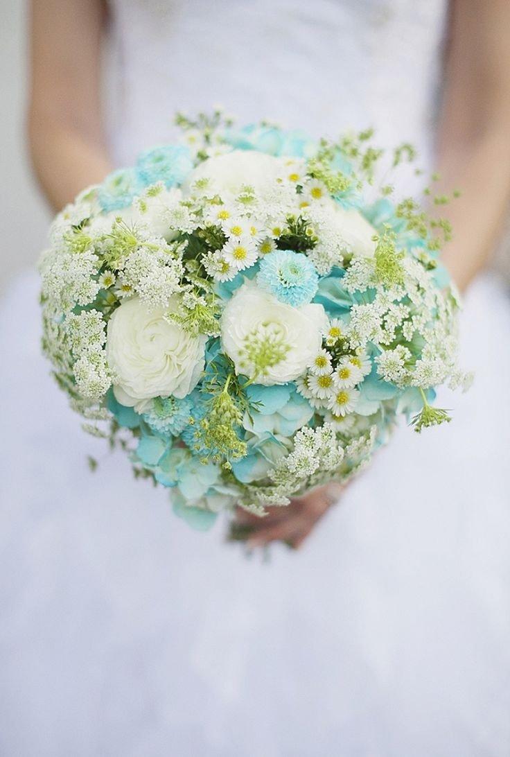 Склад, бело бирюзовый свадебный букет из живых цветов