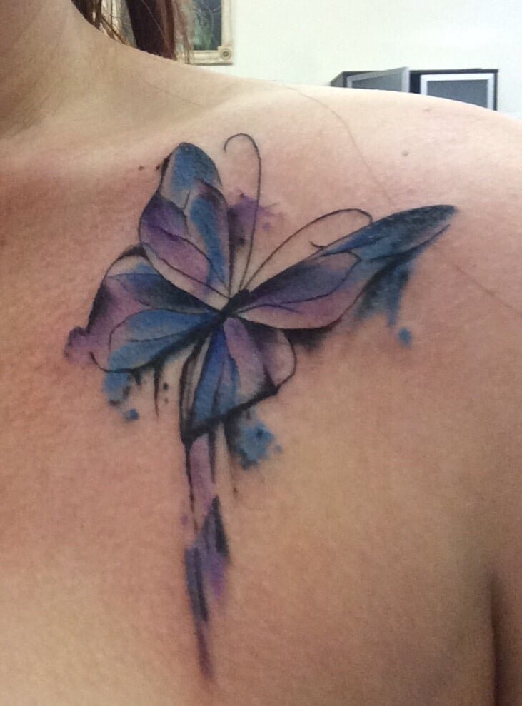 watercolor tattoo butterfly - 731×989