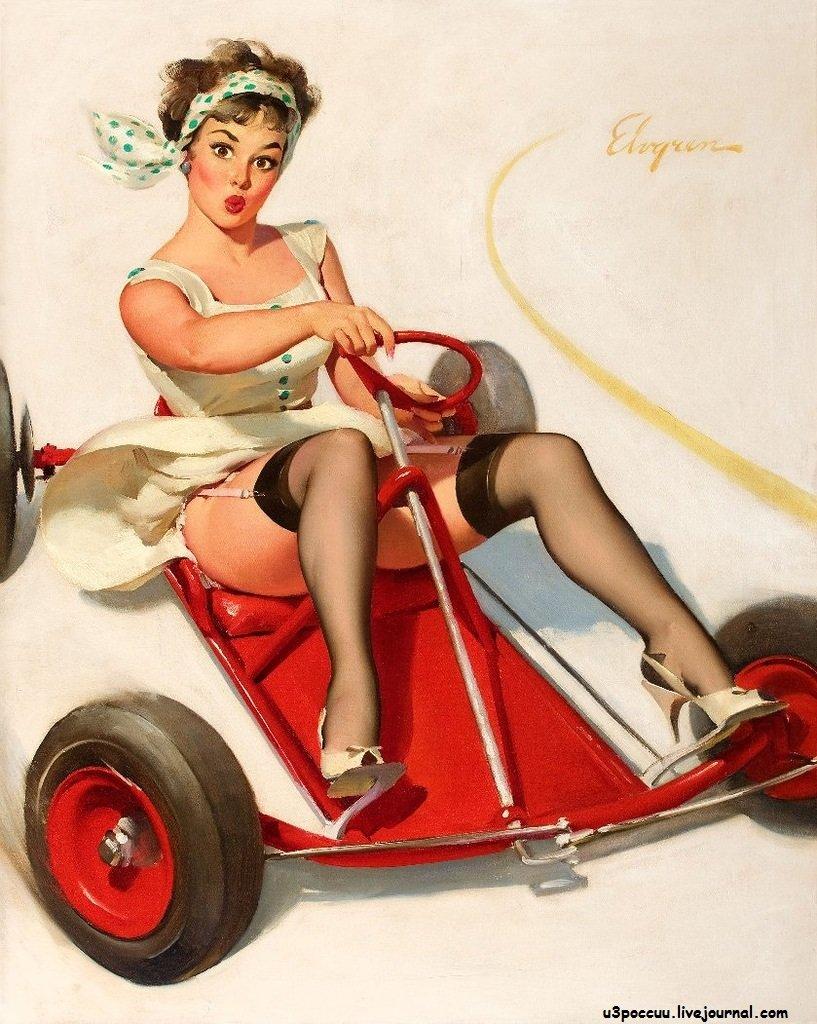 Девушка на машине открытка