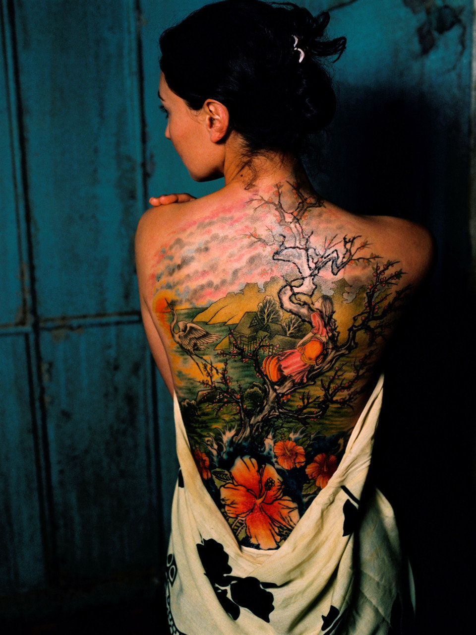 Lily Flower And Girl Sitting On Old Tree Tattoo On Back 40 Best