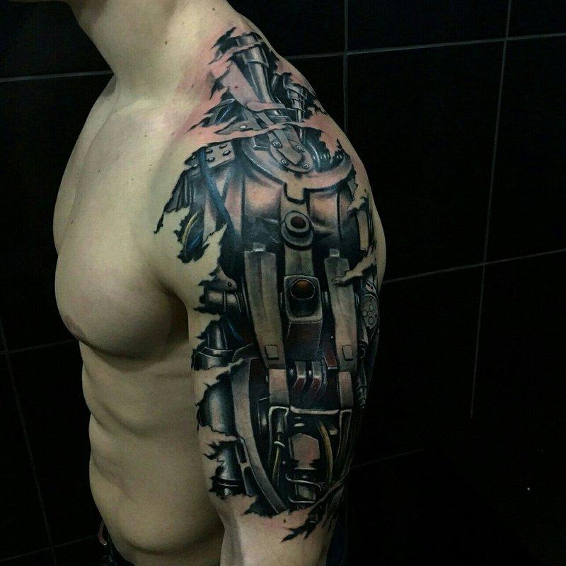 от трапеции до бицепса тату в стиле биомеханика