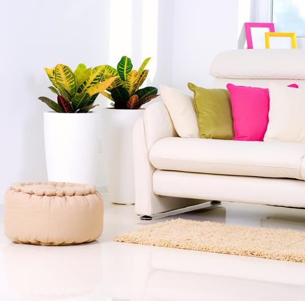 Растения в белом интерьере с ярким текстилем