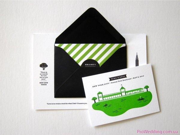 симпатичное приглашение в черном конвертике
