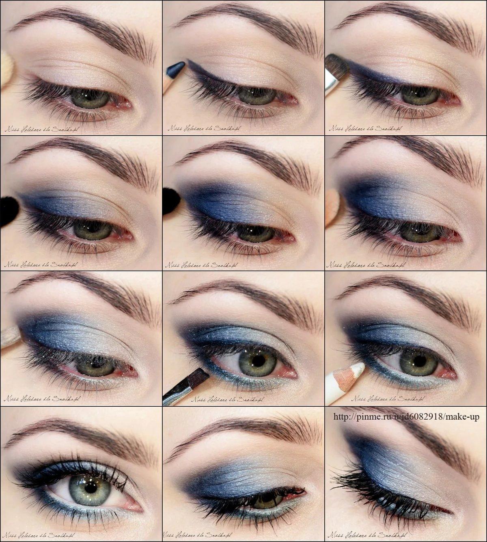 в вечерний фото пошаговое синих макияж тонах