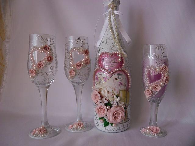 Фото декупаж свадебных бокалов