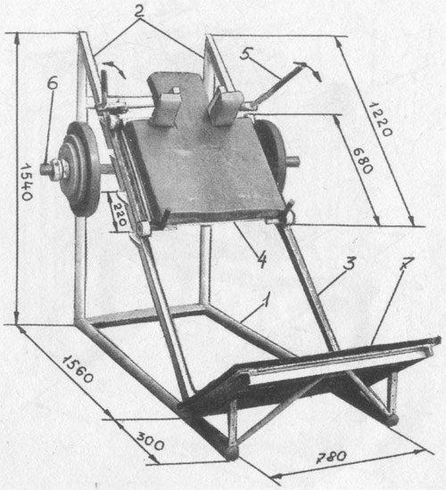 чертежи тренажера для жима ногами