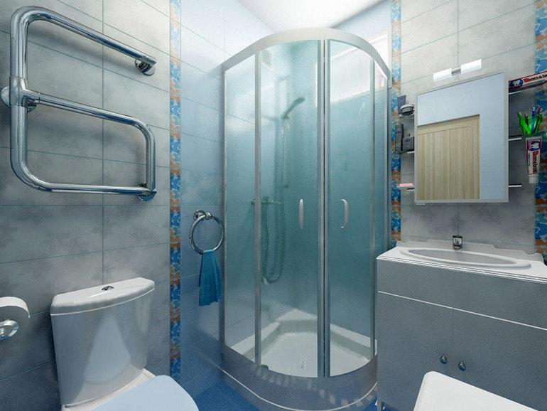 дизайн ванной комнаты с душевой кабиной и туалетом в хрущевке