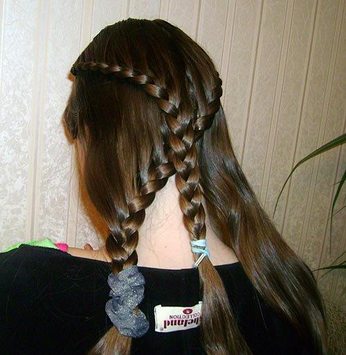 Косы на распущенные длинные волосы