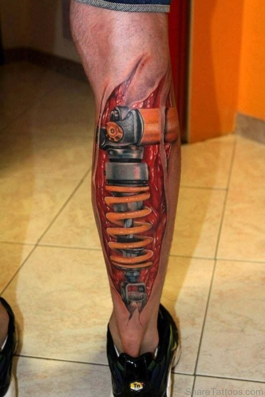 биомеханика тату фото на ноге