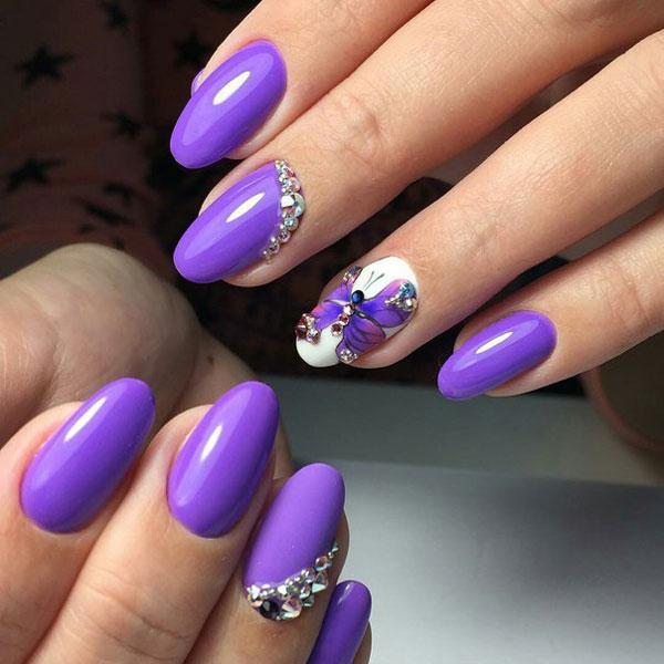 Маникюр на короткие ногти фиолетовый дизайн фото