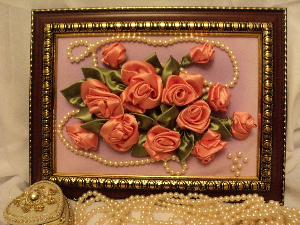 цветы своими лент руками картина атласных из