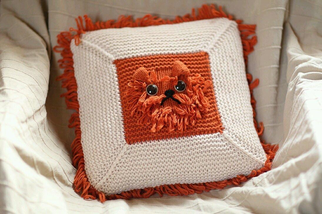 Вязаная подушка в картинках