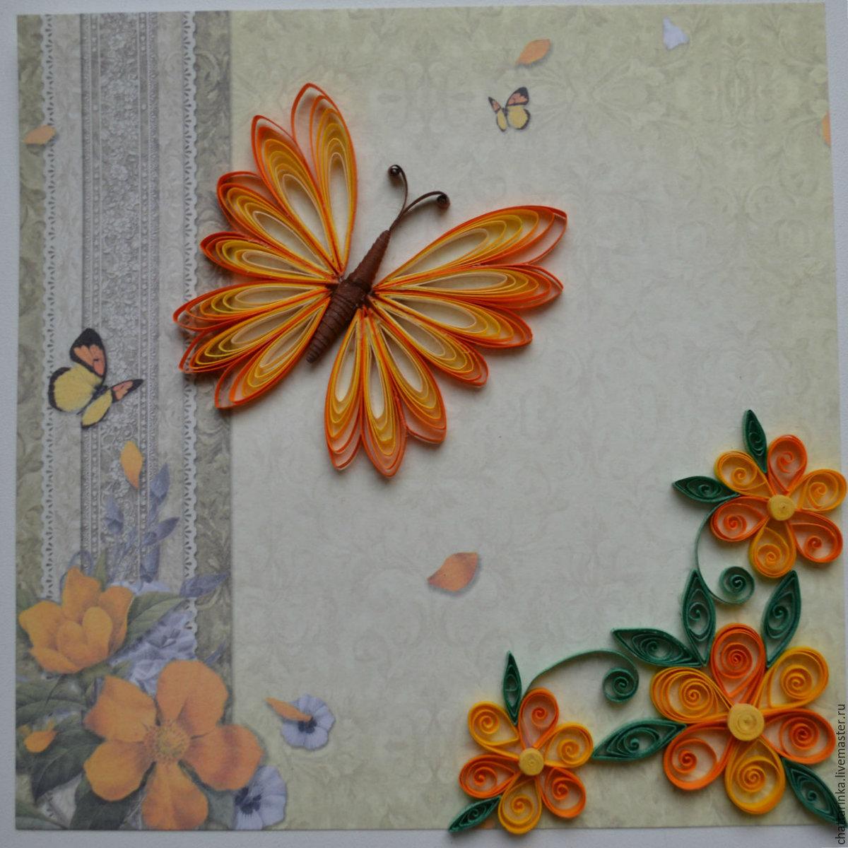 Открытка из квиллинга бабочку, прикольные