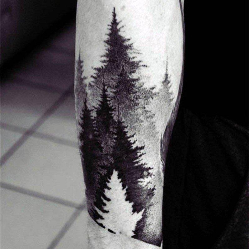 Тату лес на руке черная 15