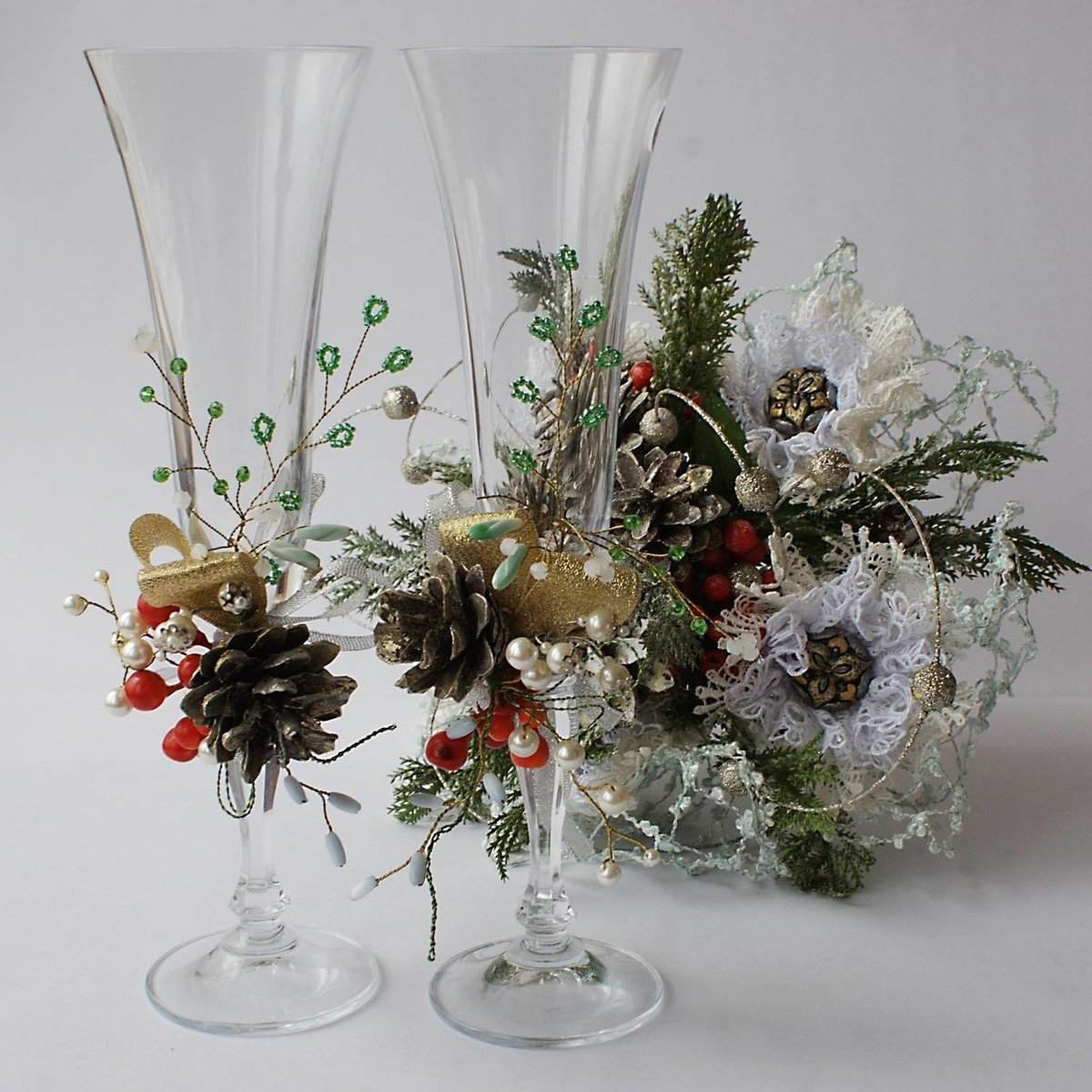 Как украсить бокалы на Новый год 2018 своими руками - 15 фот