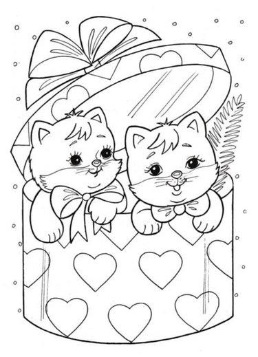 раскраски картинки котики