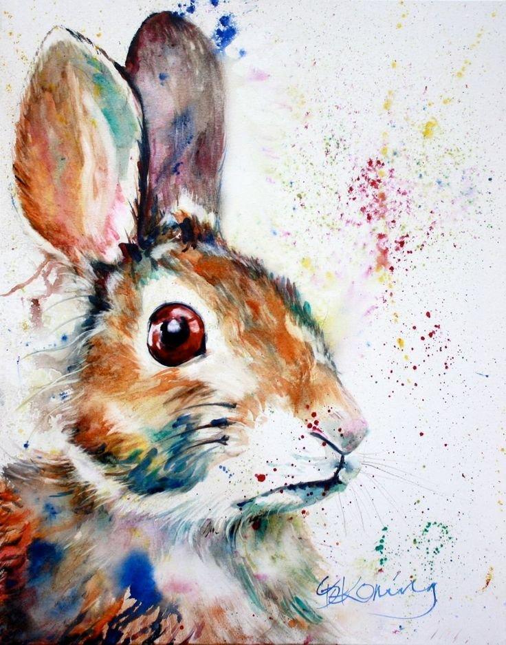 Детские рисунки акварелью животные